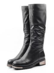 K66-D1 BLACK Сапоги зимние женские (натуральная кожа, натуральный мех (еврозима))