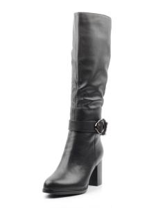 K56-D1 BLACK Сапоги зимние женские (натуральная кожа, натуральный мех (еврозима))