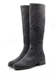 M19-1218 GRAY Сапоги зимние женские (натуральная замша, натуральный мех (евромех))