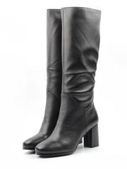 K91-A1 BLACK Сапоги зимние женские (натуральная кожа, натуральный мех (еврозима))