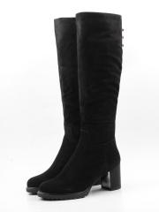 M19-1229 BLACK Сапоги зимние женские (натуральная замша, натуральный мех (еврозима))
