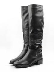 X657-C181RM BLACK Сапоги зимние женские (натуральная кожа, натуральный мех (еврозима))