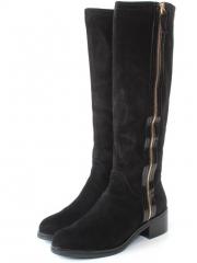 819R-1Y1 J6287F BLACK Сапоги женские (натуральная замша, натуральный мех (евромех))