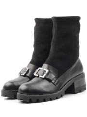 15-02 BLACK Ботинки женские (натуральная кожа, байка)