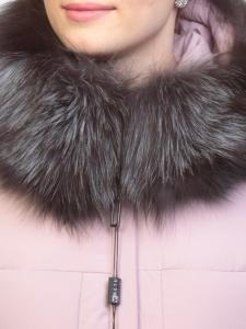 027N Пуховик женский зимний (тинсулейт, натуральный мех чернобурки)