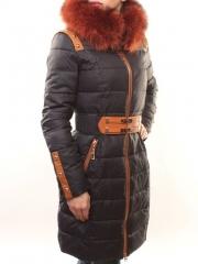 YM-00382 Пальто женское зимнее (холлофайбер, натуральный мех лисицы)