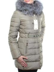 8158 Пальто зимнее женское (холлофайбер, натуральный мех чернобурки)