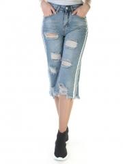6521 Бриджи джинсовые женские (98% хлопок, 2% полиэстер)