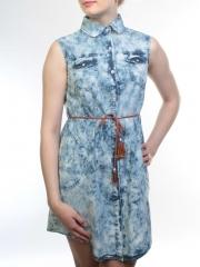 H126 Сарафан джинсовый женский (65% хлопок, 35% полиэстер)
