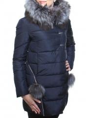 029 Пальто зимнее женское (холлофайбер, натуральный мех чернобурки)