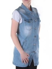 1187 Жилетка джинсовая удлиненная женская AMG Jeans (100% хлопок)